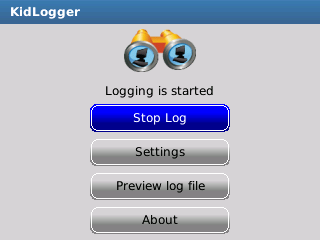 Kidlogger main window on BlackBerry device